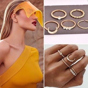 Jewelry - Cava Ring, set of 5 rings, gold plated